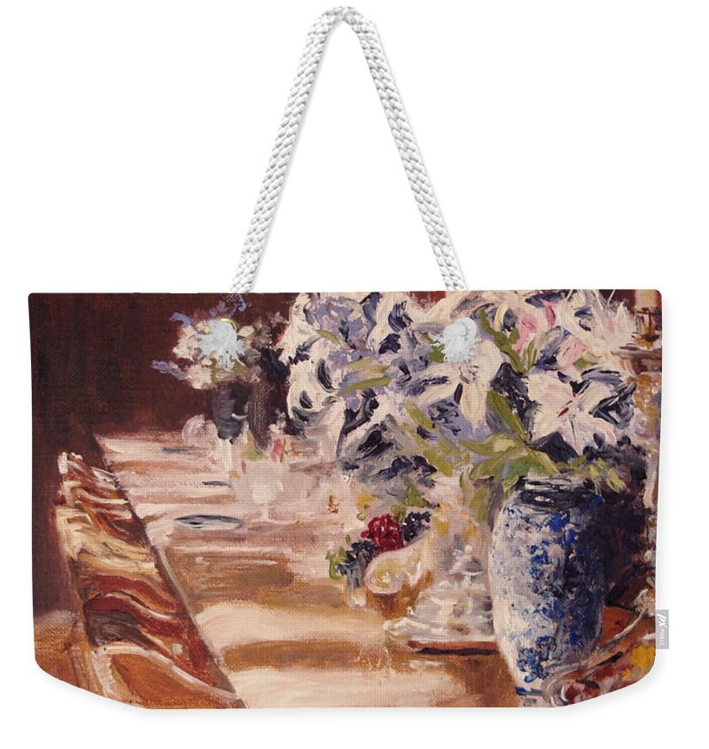 Vases Weekender Tote Bag featuring the painting Elegant Dining At Hearst Castle by Barbara Andolsek