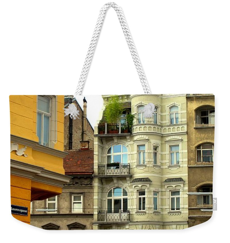 Vienna Weekender Tote Bag featuring the photograph Elegant Vienna Apartment Building by Ian MacDonald
