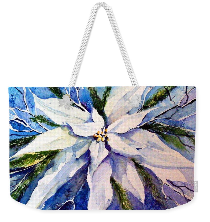 Christmas Weekender Tote Bag featuring the painting Elegant White Christmas by Mindy Newman