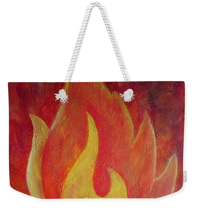 Fire Weekender Tote Bag featuring the painting Element Of Fire by Toresa Looui