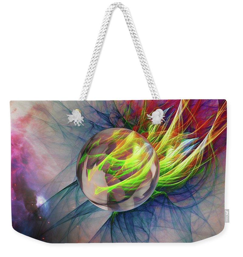 Abstract Weekender Tote Bag featuring the digital art Elemental Space by John Haldane