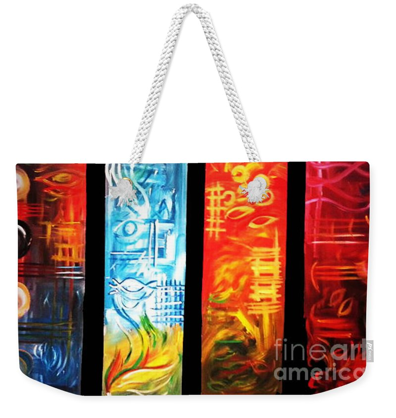 Art Weekender Tote Bag featuring the painting Elements by Nour Refaat