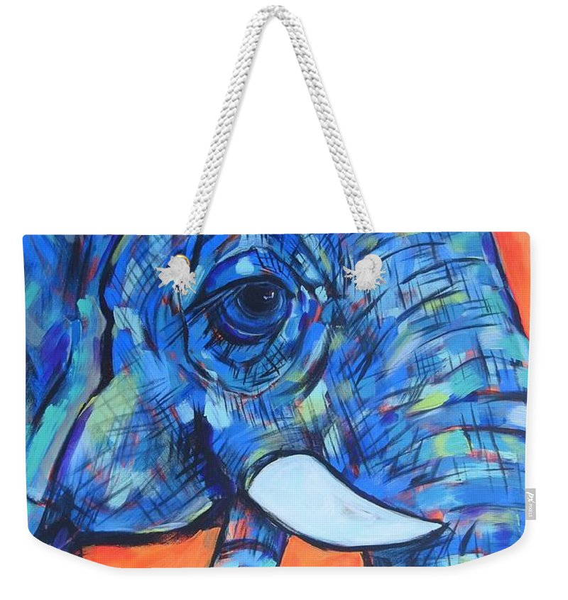 Blue Elephant On Orange And Pink Background Weekender Tote Bag featuring the painting Elephant# 6 by Arrin Burgand