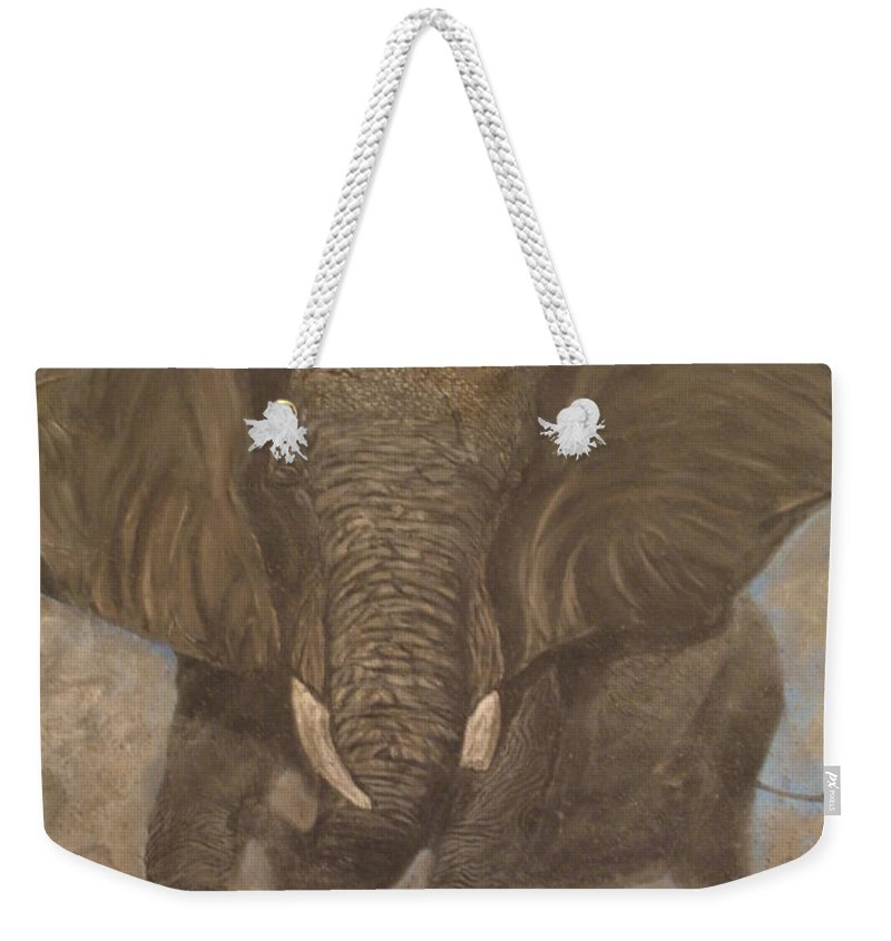 Elephant Weekender Tote Bag featuring the painting Elephant Charging by Nick Gustafson