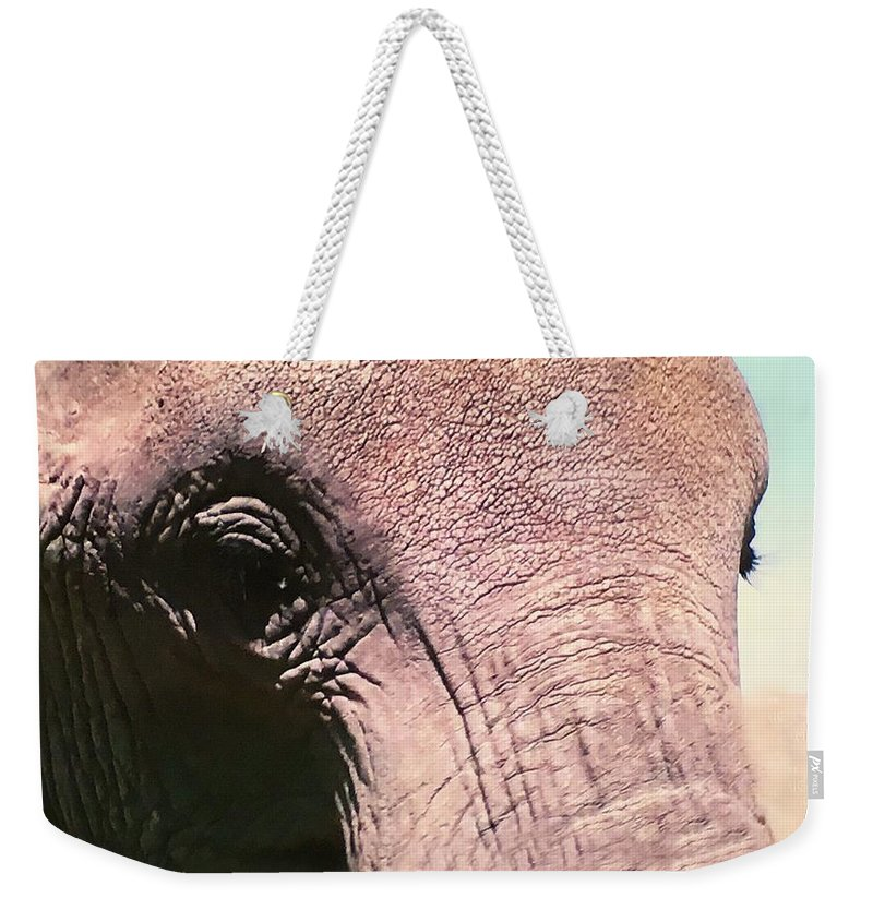 Weekender Tote Bag featuring the photograph Elephant Eye by Miriam Marrero