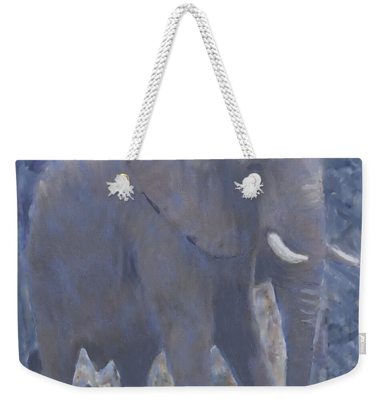 Animal Weekender Tote Bag featuring the painting Elephant Facing Right by Thomas Tribby