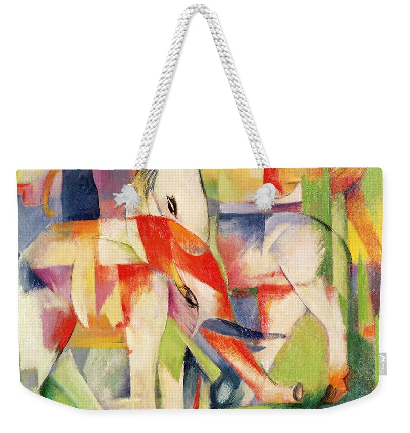 Elephant Weekender Tote Bag featuring the painting Elephant Horse And Cow by Franz Marc