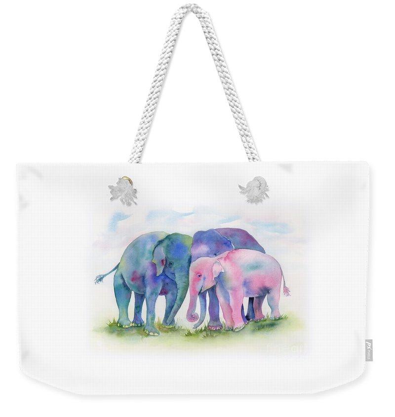 Elephant Weekender Tote Bag featuring the painting Elephant Hug by Amy Kirkpatrick