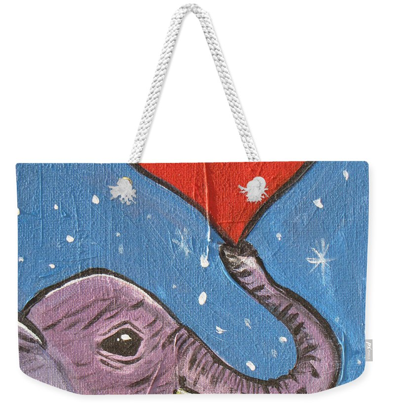 Elephant Weekender Tote Bag featuring the painting Elephant Love by Heather Shalhoub