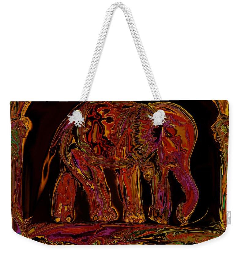 Animal Weekender Tote Bag featuring the digital art Elephant by Rabi Khan