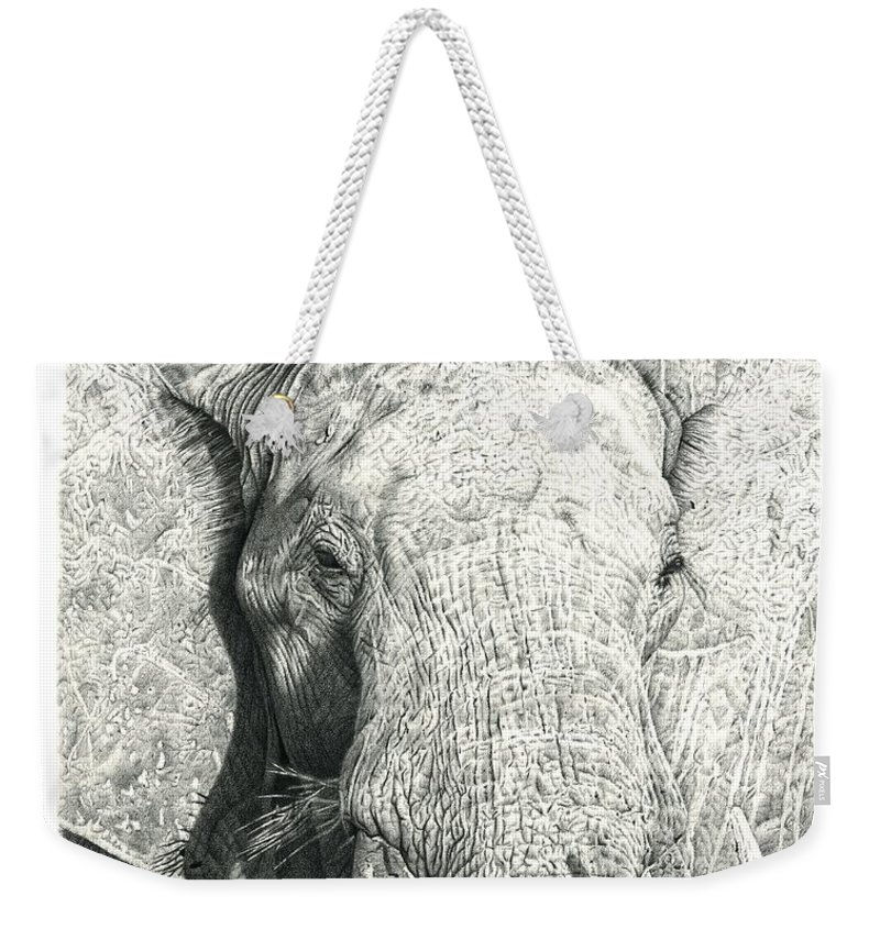 Elephant Weekender Tote Bag featuring the drawing Elephant by Remrov