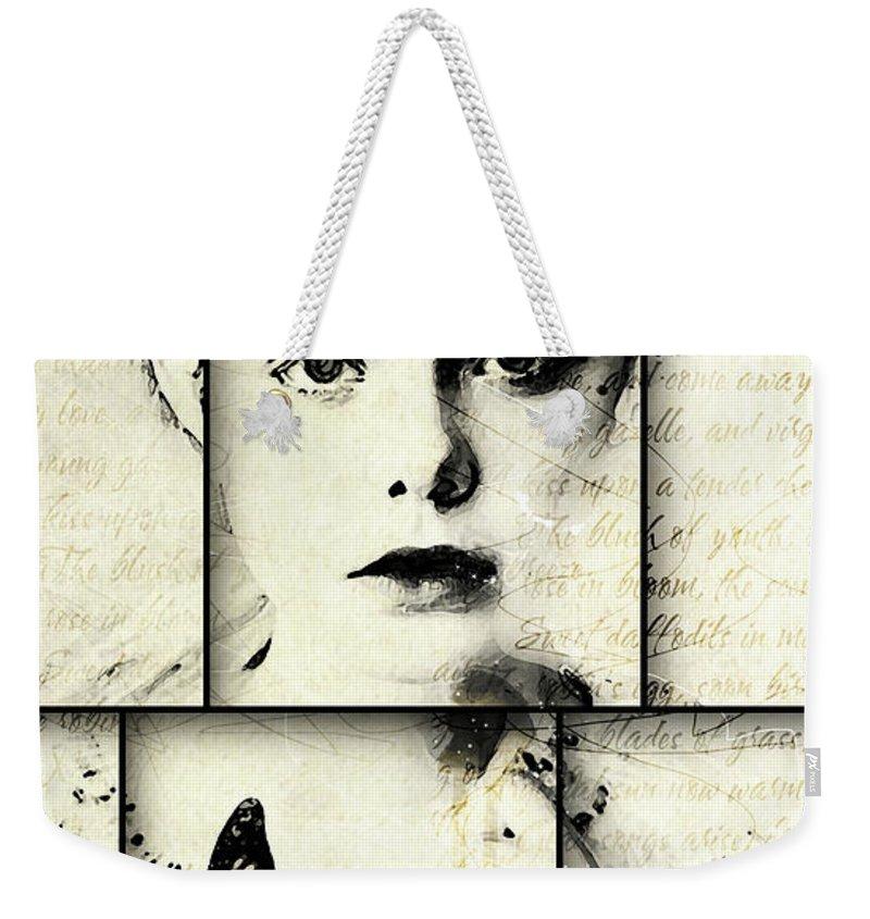 Pretty Face Weekender Tote Bag featuring the digital art Eliannah Con Mariposa by Gary Bodnar