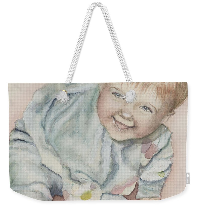 Girl Weekender Tote Bag featuring the painting Elise by Nadine Rippelmeyer