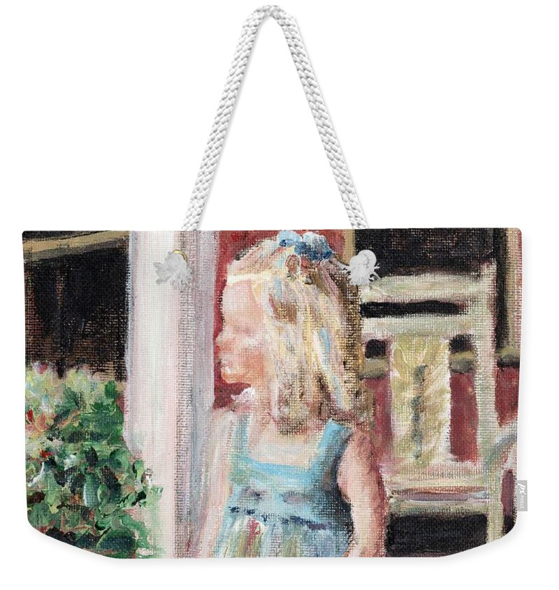 Girl Weekender Tote Bag featuring the painting Elizabeth Anne by Nadine Rippelmeyer