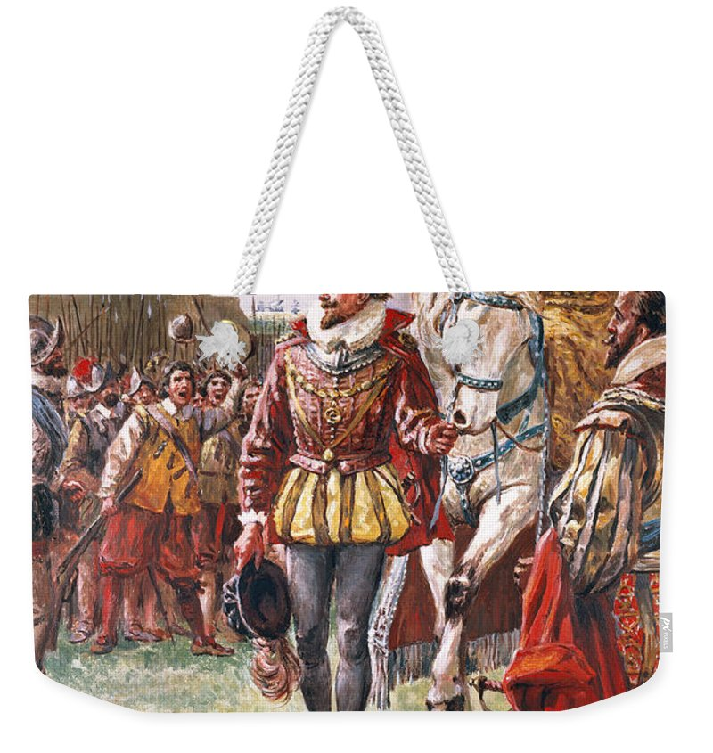 Queen Elizabeth Weekender Tote Bag featuring the painting Elizabeth I The Warrior Queen by CL Doughty