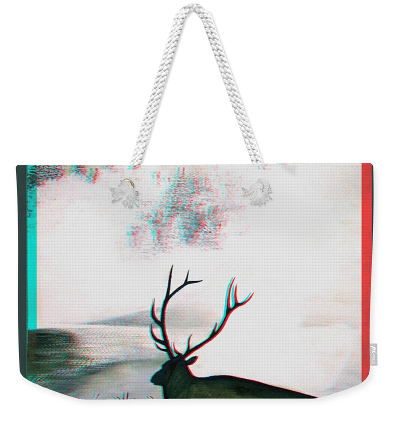 3d Weekender Tote Bag featuring the photograph Elk - Use Red-cyan 3d Glasses by Brian Wallace