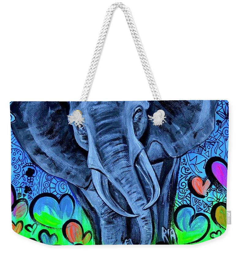 Elephant Weekender Tote Bag featuring the painting Elley by Artist RiA