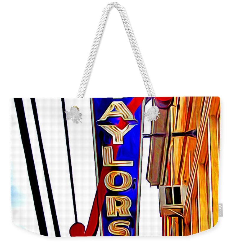 Ellicott Weekender Tote Bag featuring the digital art Ellicott City Taylor's Sign by Stephen Younts