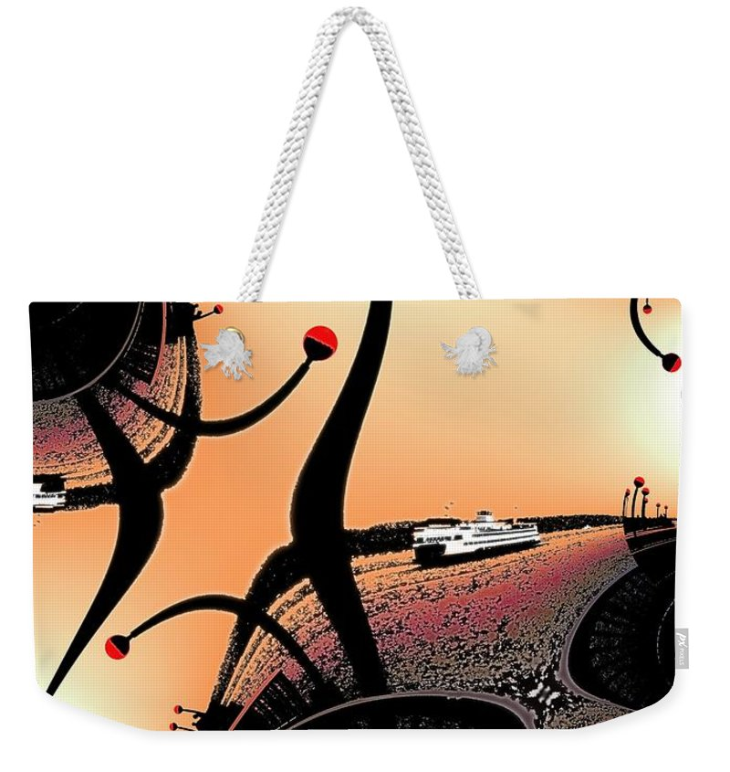 Seattle Weekender Tote Bag featuring the digital art Elliott Bay Ferry Fractal by Tim Allen