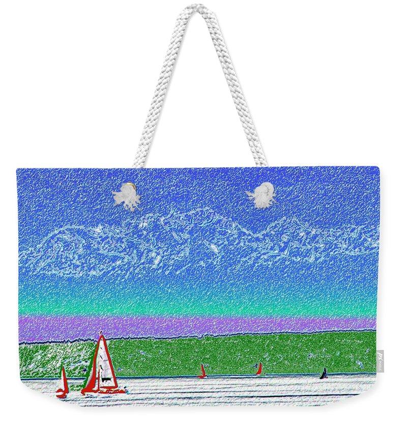 Seattle Weekender Tote Bag featuring the digital art Elliott Bay Sail by Tim Allen