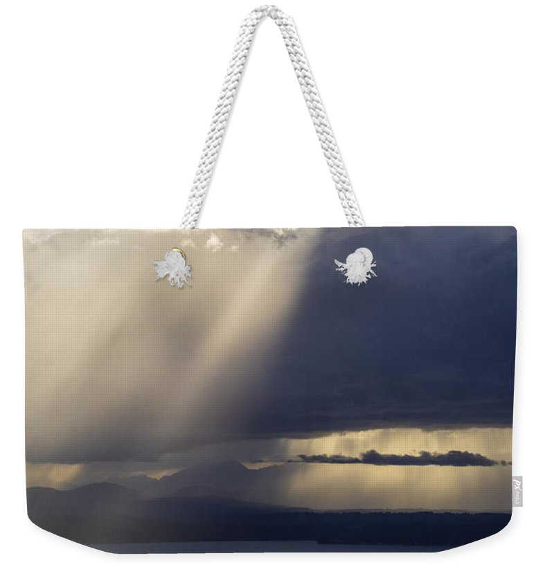 Seattle Weekender Tote Bag featuring the photograph Elliott Bay Storm Clouds Ferry by Mike Reid