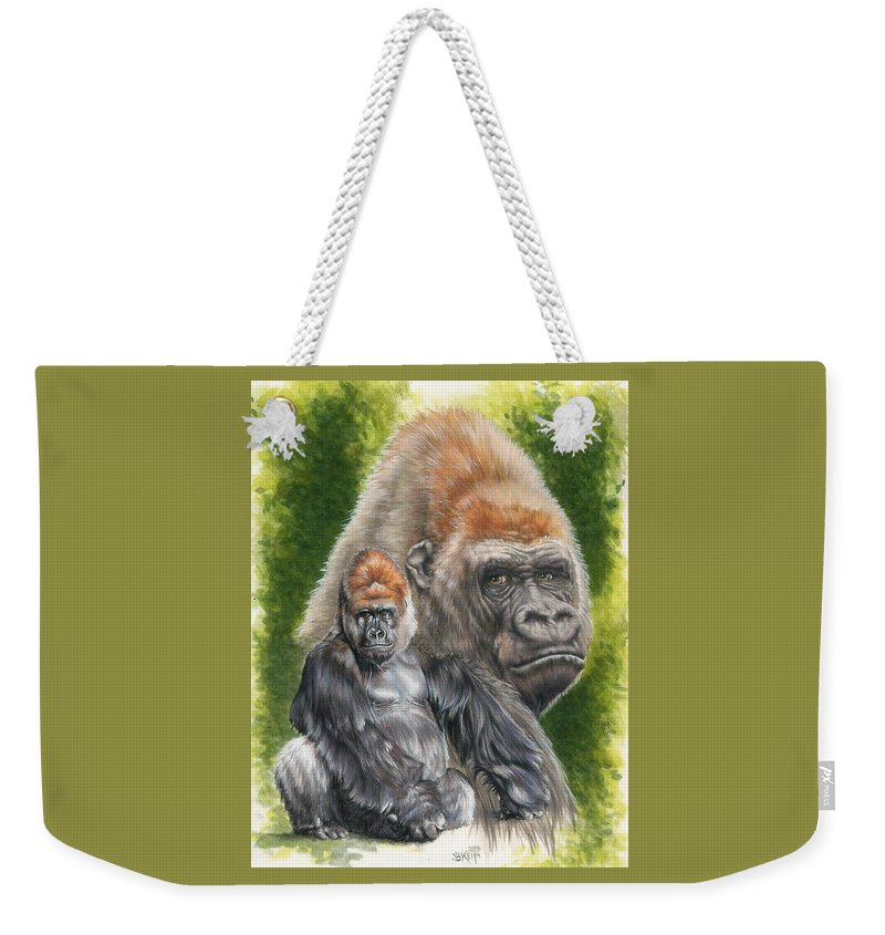Gorilla Weekender Tote Bag featuring the mixed media Eloquent by Barbara Keith