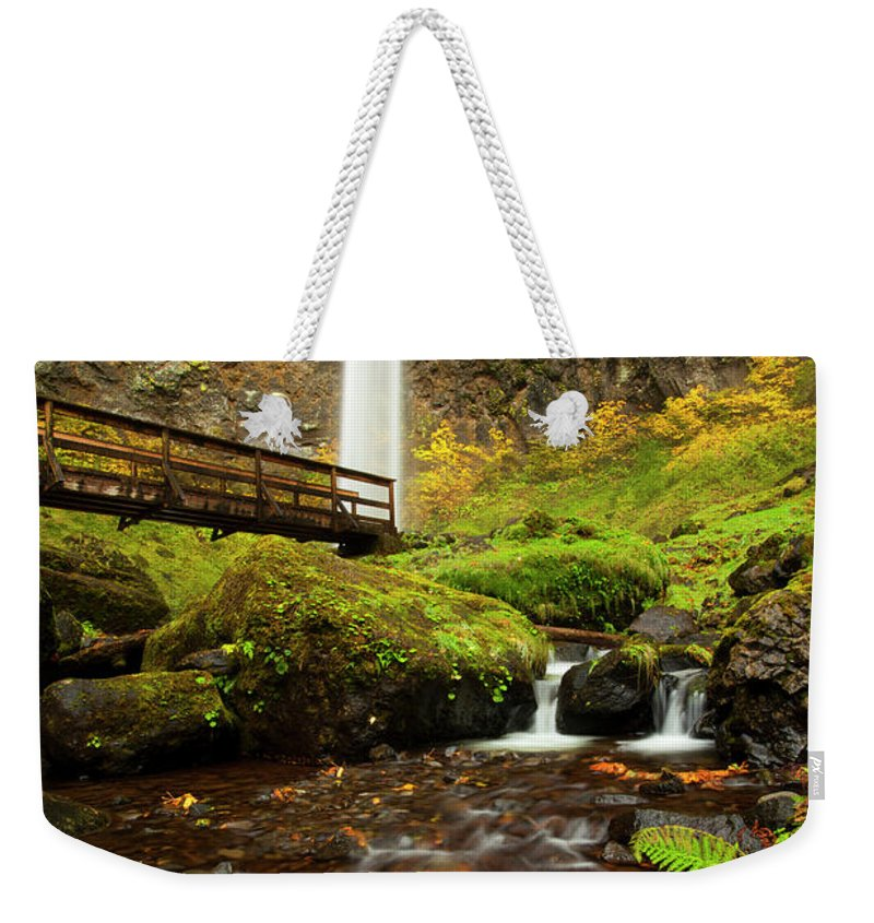 Elowah Falls Weekender Tote Bag featuring the photograph Elowah Perspective by Mike Dawson