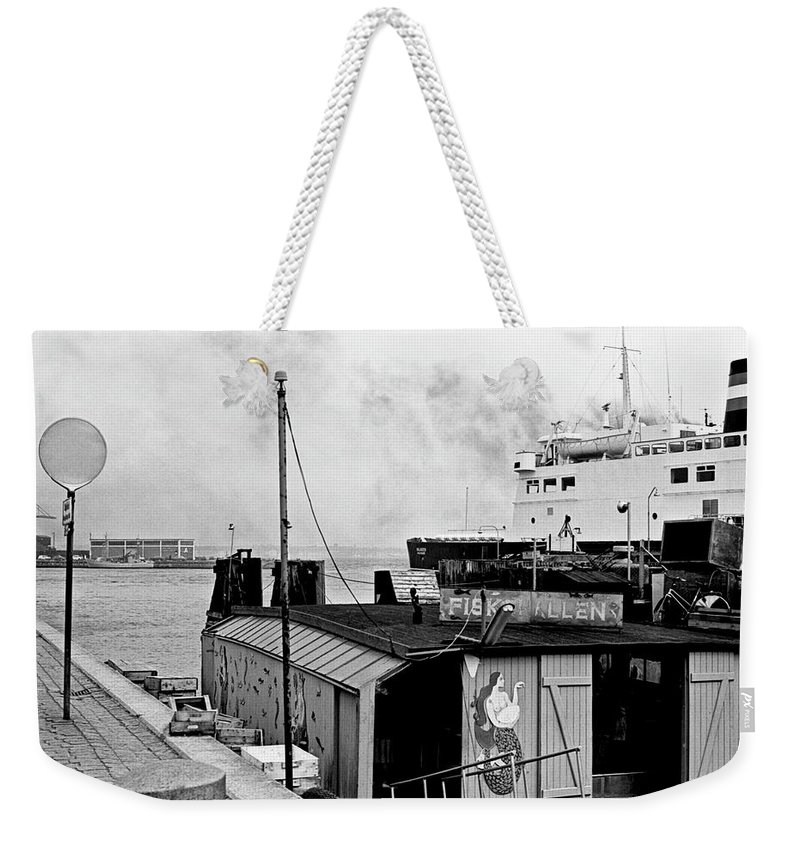B&w Weekender Tote Bag featuring the photograph Elsinore Port Denmark by Lee Santa
