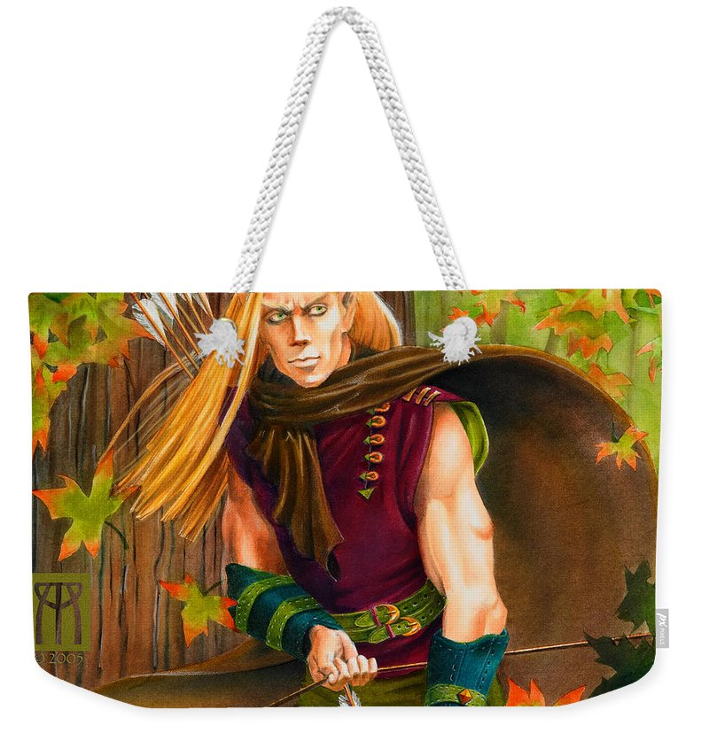 Elf Weekender Tote Bag featuring the painting Elven Hunter by Melissa A Benson
