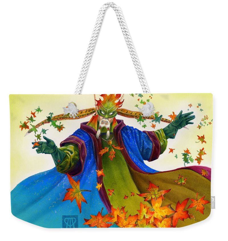 Elf Weekender Tote Bag featuring the painting Elven Mage by Melissa A Benson