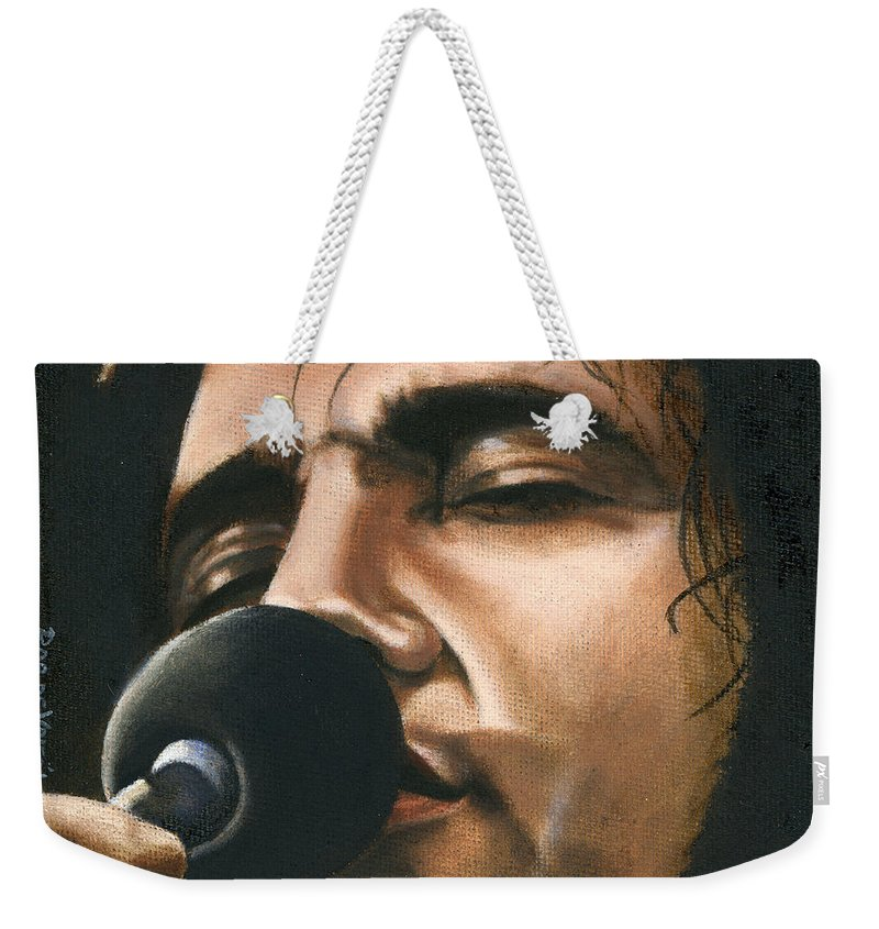 Elvis Weekender Tote Bag featuring the painting Elvis 24 1972 by Rob De Vries