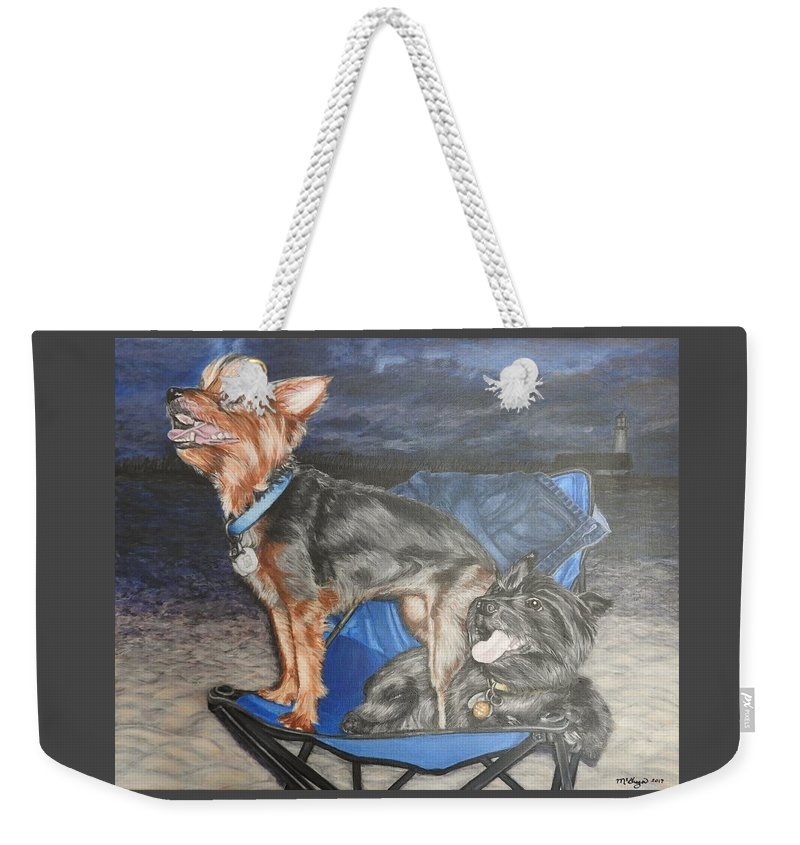 Dog Weekender Tote Bag featuring the painting Elvis And Chewy by Cathy McGregor