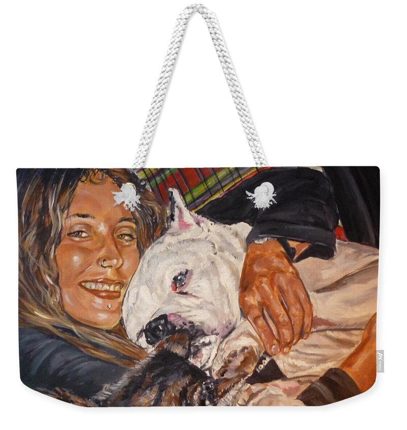 Pet Weekender Tote Bag featuring the painting Elvis And Friend by Bryan Bustard