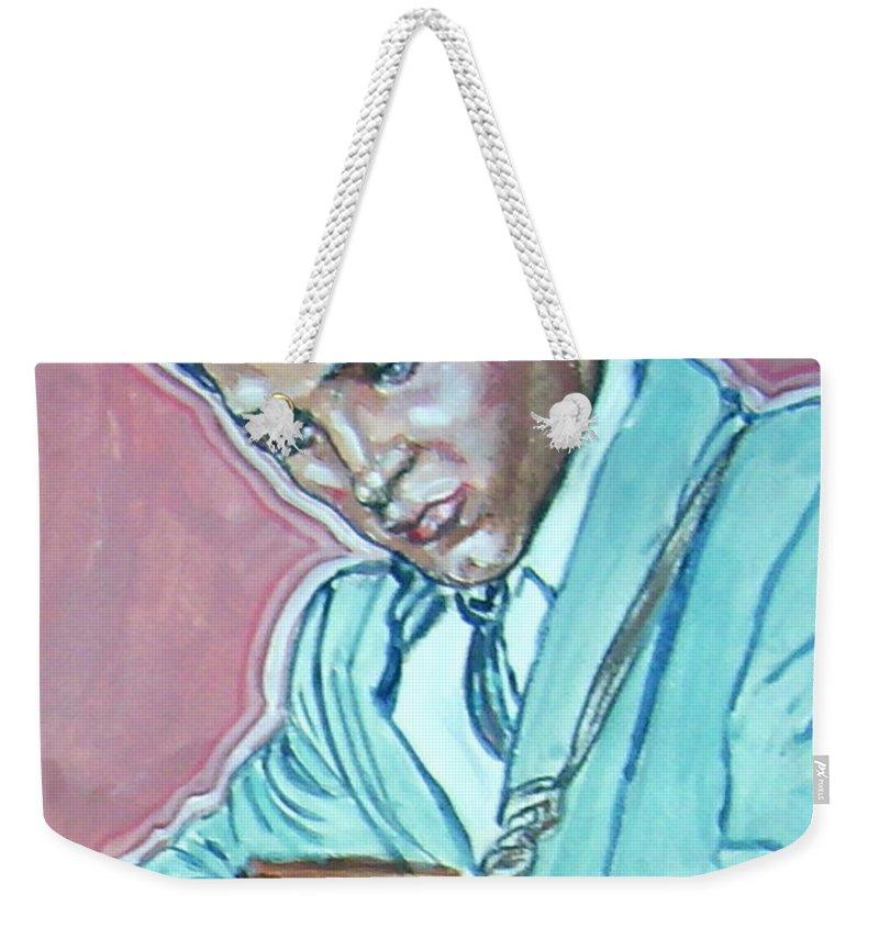 Elvis Presley Weekender Tote Bag featuring the painting Elvis Presley by Bryan Bustard