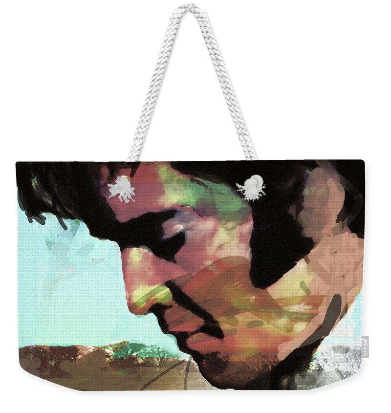 Elvis Weekender Tote Bag featuring the drawing Elvis shadows and trees by Enki Art
