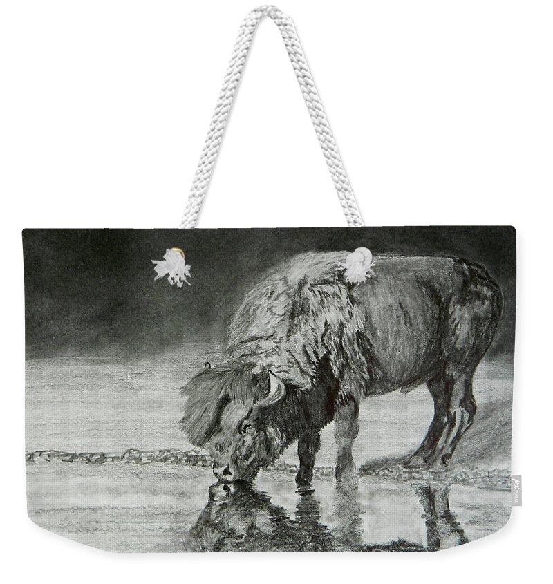 Wildlife Weekender Tote Bag featuring the drawing Elvis by Virginia Craig