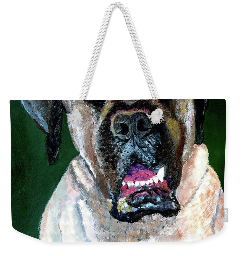 Dog Portrait Weekender Tote Bag featuring the painting Ely by Stan Hamilton
