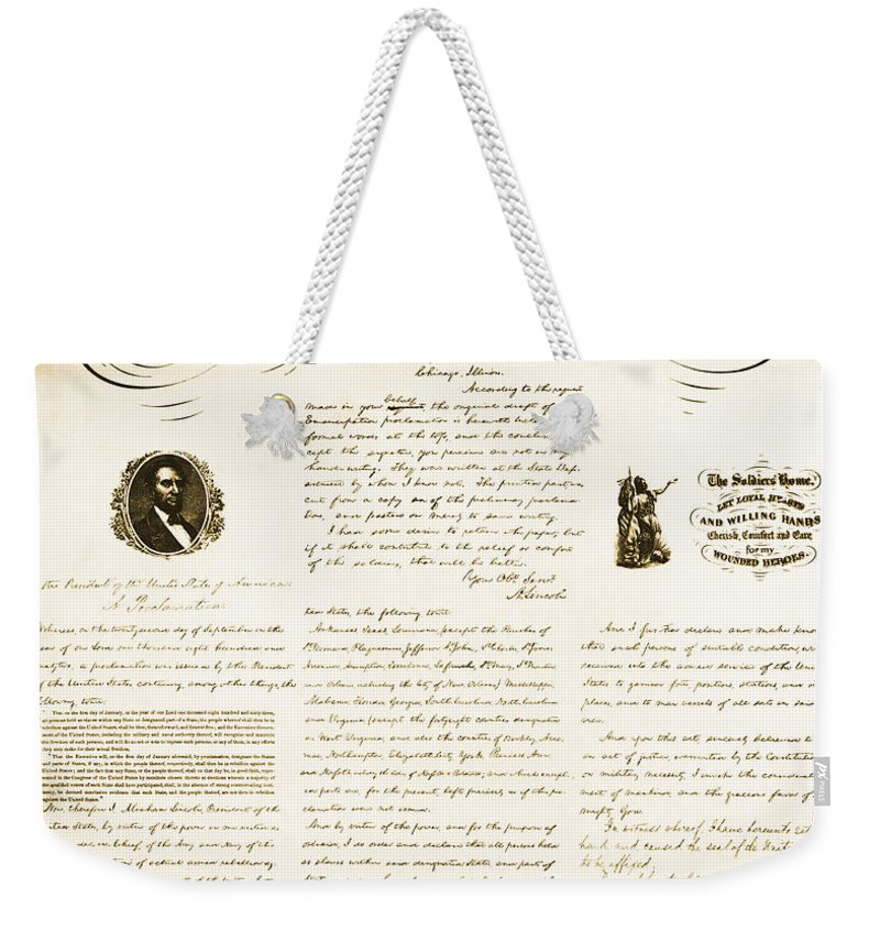 Emancipation Proclamation Weekender Tote Bag featuring the photograph Emancipation Proclamation by Photo Researchers