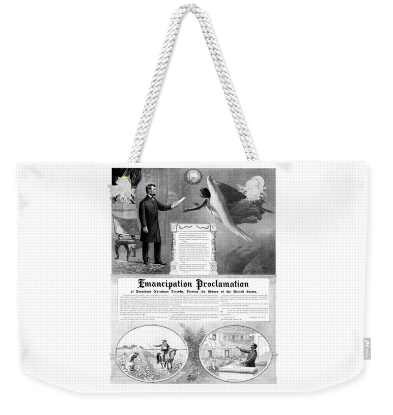 Emancipation Proclamation Weekender Tote Bag featuring the mixed media Emancipation Proclamation by War Is Hell Store