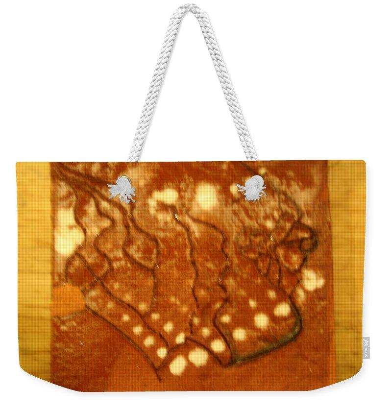 Jesus Weekender Tote Bag featuring the ceramic art Embers - Tile by Gloria Ssali