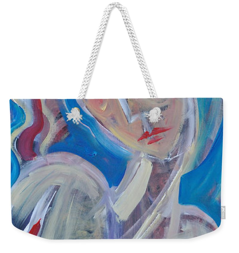 Woman Weekender Tote Bag featuring the painting Embrace Me by Tim Nyberg