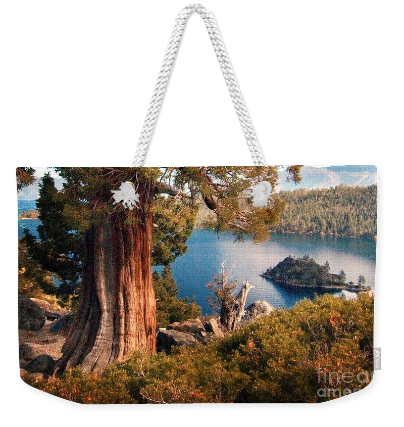 California Scenes Weekender Tote Bag featuring the photograph Emerald Bay Overlook by Norman Andrus