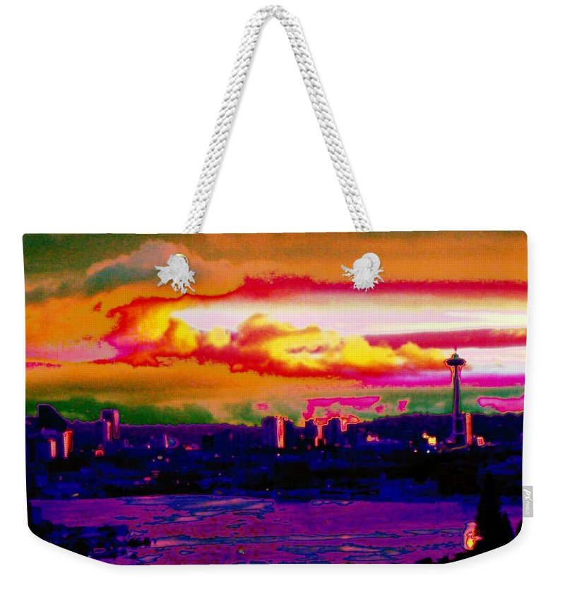 Seattle Weekender Tote Bag featuring the photograph Emerald City Sunset by Tim Allen