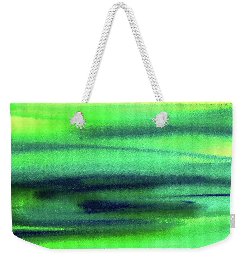 Emerald Weekender Tote Bag featuring the painting Emerald Flow Abstract Painting by Irina Sztukowski
