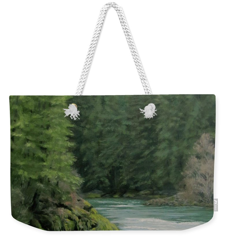 Forest Weekender Tote Bag featuring the painting Emerald Forest by Karen Ilari