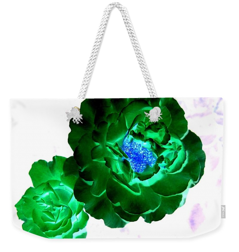 Rose Weekender Tote Bag featuring the digital art Emerald Rose by Will Borden