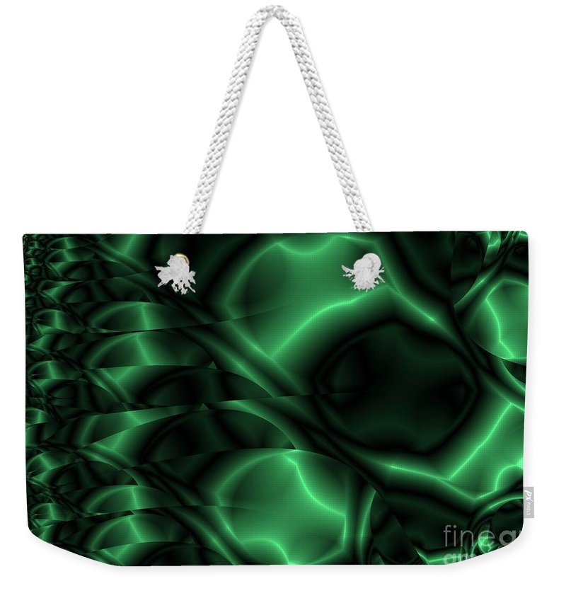 Emerald Weekender Tote Bag featuring the digital art Emerald Shimmer by Ron Bissett