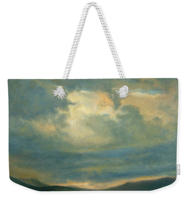 Southwest Weekender Tote Bag featuring the painting Emergence by Phyllis Tarlow
