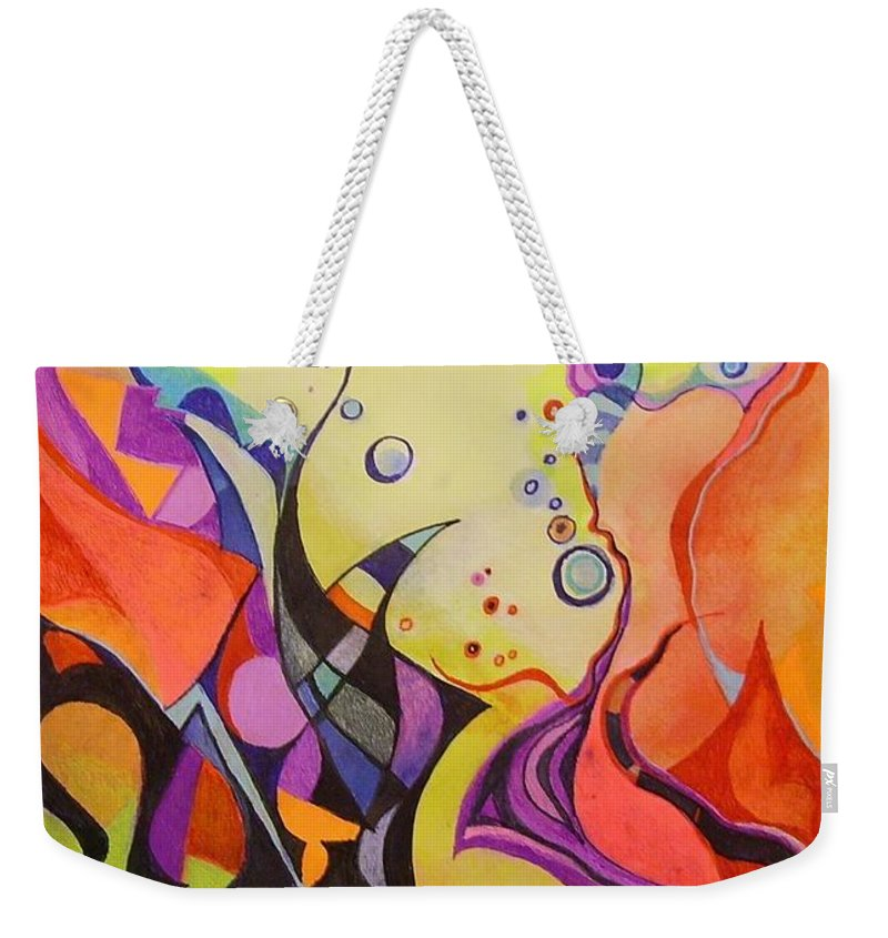 Watercolors Pens Paper Abstract Weekender Tote Bag featuring the painting Emergence by Wolfgang Schweizer