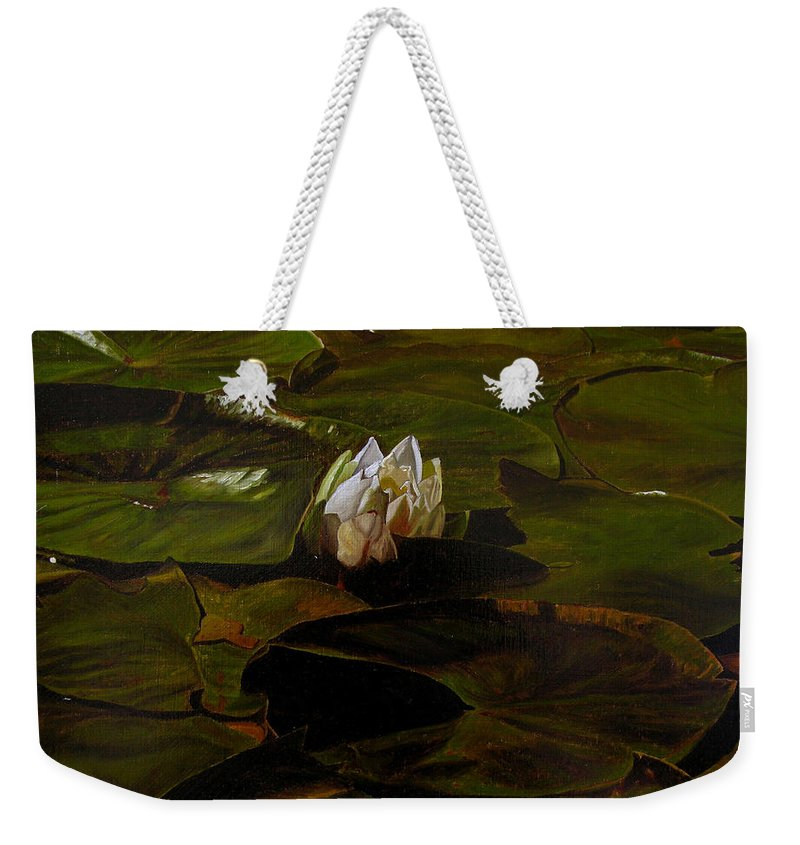 Lily Pad Weekender Tote Bag featuring the painting Emerging One by Thu Nguyen